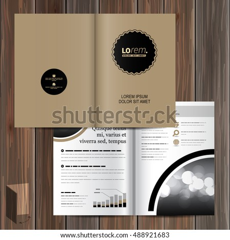 classic brown brochure template design with black round element cover layout