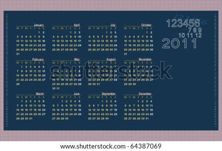 Classic calendar for 2011. Easy to edit. Space for text and logo or image. Weeks starts on Monday. - stock vector
