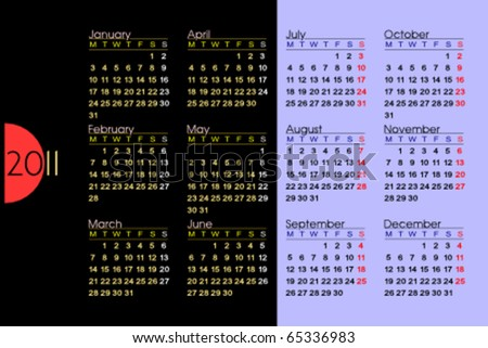 Classic calendar for 2011. Week starts on Monday. Easy to edit. Space for text or logo. 3:2 aspect ratio. - stock vector
