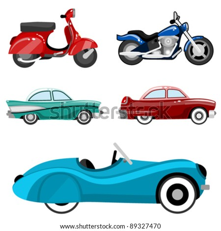 classic cars and motorcycles - stock vector
