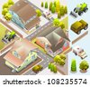 classic cars isometric. very detail isometric vector - stock vector