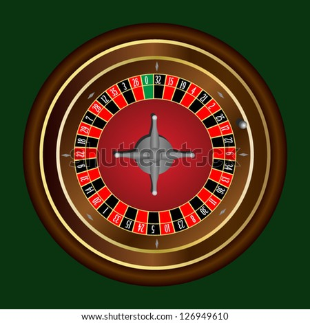 Classic casino roulette wheel on green background