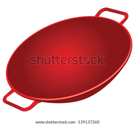 Classic cast iron wok red. Vector illustration. - stock vector