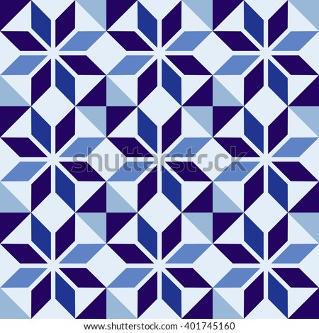classic ceramic mosaic tile seamless pattern with abstract geometric shape decoration eps10 vector