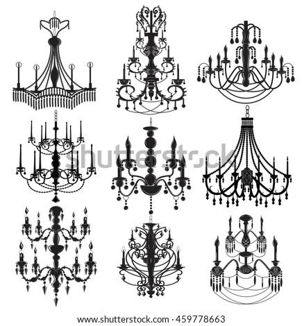 Classic chandelier set collection luxury decor stock vector classic chandelier set collection luxury decor accessory design vector illustration sketch aloadofball Images
