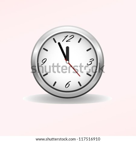 Classic clock. Easy editable time. Five minutes to twelve. - stock vector