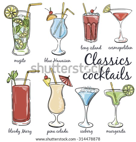 Classic Cocktails. Hand drawn illustration of cocktail, including recipes and ingredients. Vector collection.