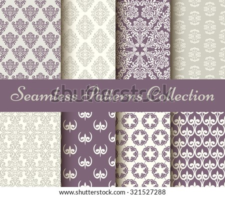 Classic collection of seamless patterns: damask, abstract in pastel violet and grey - stock vector