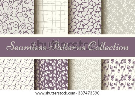 Classic collection of seamless patterns: damask, abstract in pastel violet and grey-3