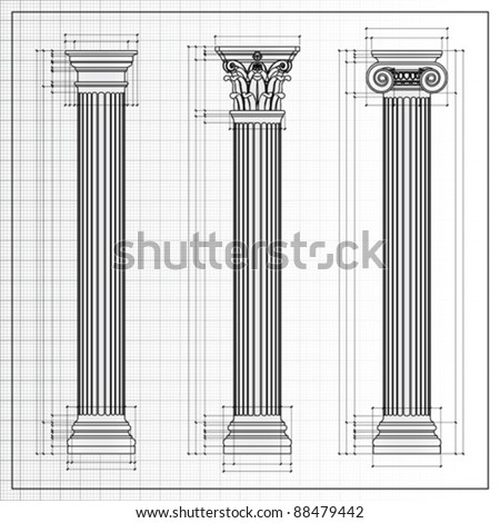 classic columns background sketch, vector - stock vector