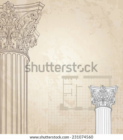 Classic columns seamless background. Roman corinthian column. Illustration on white background for design sketch  - stock vector