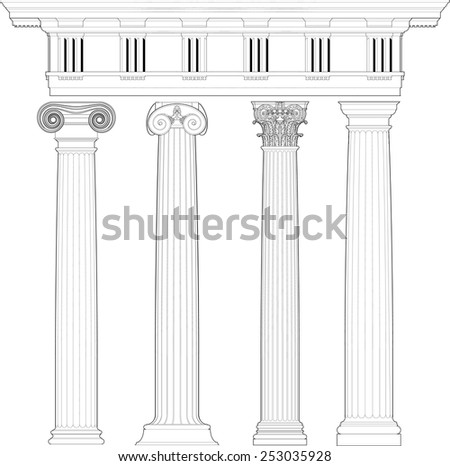 classic columns set - stock vector