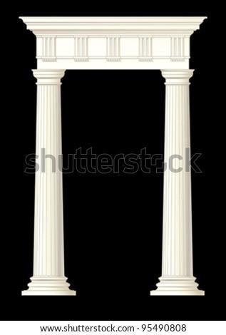 classic columns vector drawing - stock vector
