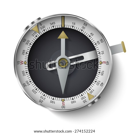 Classic compass with long phosphor isolated on white background - stock vector