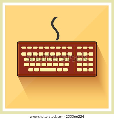 Classic Computer Keyboard on Retro Background Vector  - stock vector