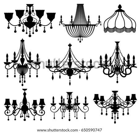 Chandelier silhouette imgenes pagas y sin cargo y vectores en classic crystal glass antique elegant chandeliers black vector silhouettes aloadofball Gallery