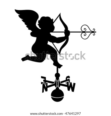 Classic cupid weather vane with decorated arrow isolated - stock vector