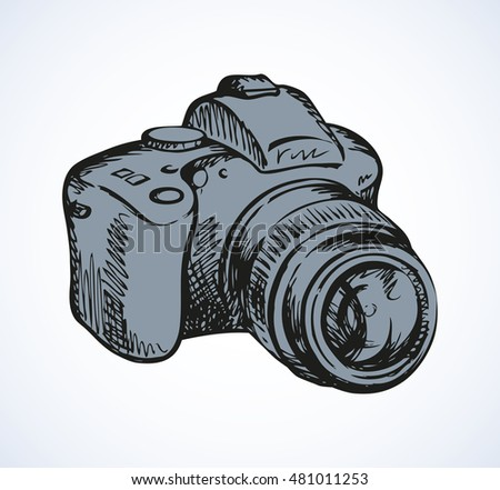 Classic dark grey plastic camera isolated on white backdrop. Freehand linear ink hand drawn object sketchy in art scrawl style pen on paper. Detail view close-up with space for text