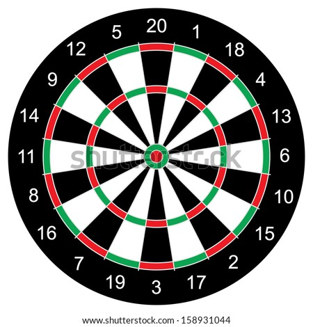 Classic Darts Board vector, with twenty  sectors.