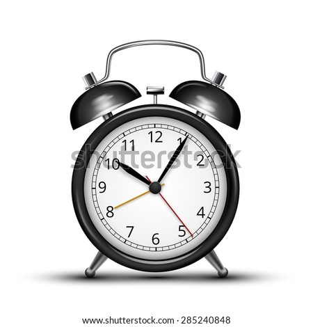 Classic design black alarm clock isolated on white. Vector illustration