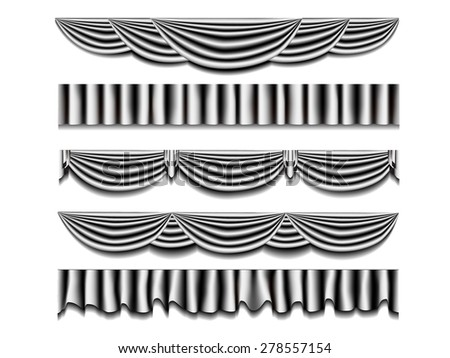 classic elegance curtain elements for curtain frame, vintage vector illustration. - stock vector