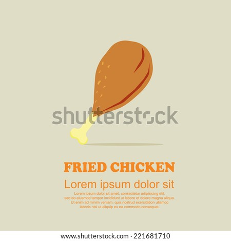 Classic food cartoon set,Fried chicken - stock vector