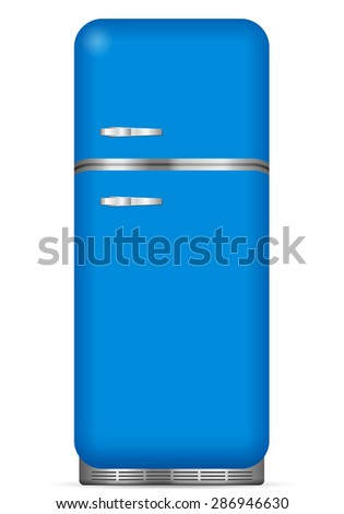 Classic fridge on a white background. Vector illustration. - stock vector