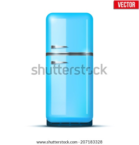 Classic Fridge refrigerator in blue color. Household appliances. Vector isolated on white background - stock vector