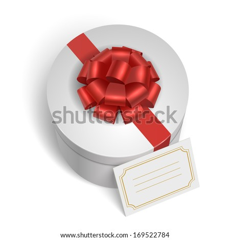 Classic gift box with red ribbon, bow and blank card for message isolated vector illustration - stock vector