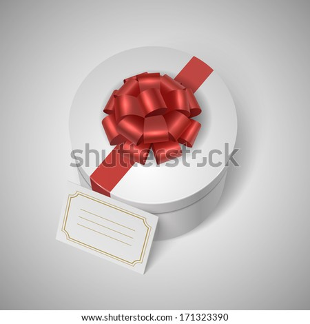 Classic giftbox with red ribbon, bow and blank lable for message vector illustration - stock vector