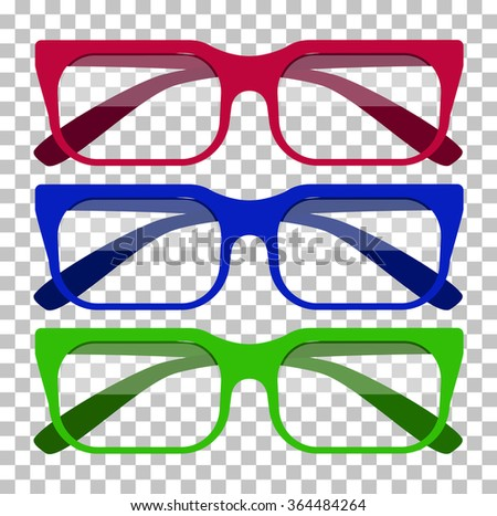 Classic glasses icon. Glasses isolated. Glasses model icons, man, women frames. Eyeglasses isolated. Hipster glasses. Club glasses. Office glasses. Metal framed geek glasses vintage. Vector glasses - stock vector