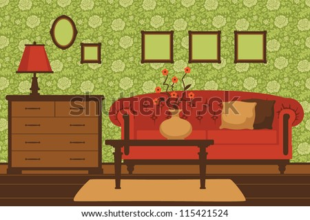 Classic green livingroom interior - stock vector