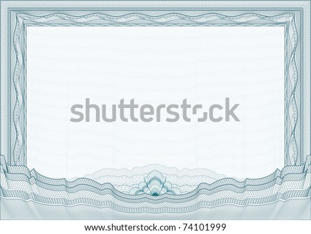 Classic guilloche border for diploma or certificate with protective  ornament  / vector/ A4 horizontal / CMYK color /  Layers are separated! Editing is easy - stock vector