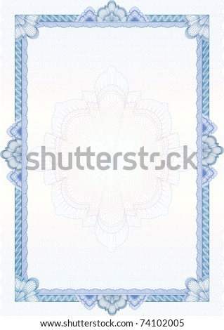 Classic guilloche border for diploma or certificate with protective  ornament / vector/ A4 vertical / CMYK color / Layers are separated! Editing is easy - stock vector