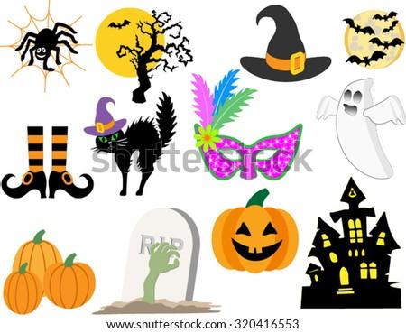 Classic Halloween Symbols Haunted House Bats Stock Vector 320416553