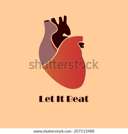 Classic human heart, retro style, simple and elegant - stock vector