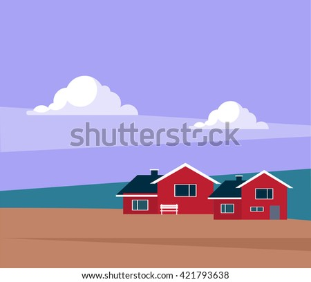 Classic Icelandic Landscape With Houses Flat Bright Color Simplified Vector Illustration In Realistic Cartoon Style Design