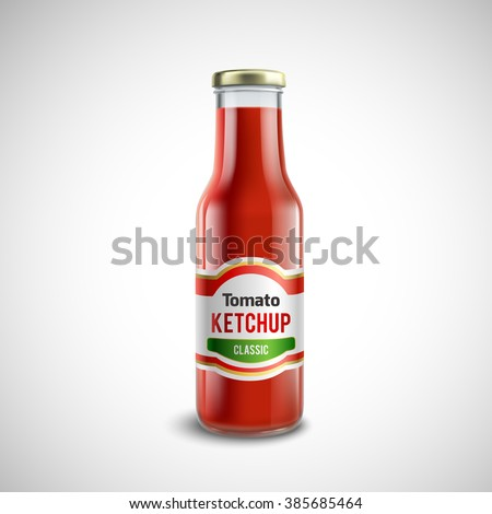Classic ketchup glass bottle with glossy cap in realistic style isolated vector illustration  - stock vector