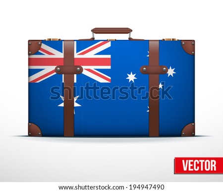 Classic luggage suitcase with flag Australia for travel. Vector Illustration. Editable and isolated. - stock vector
