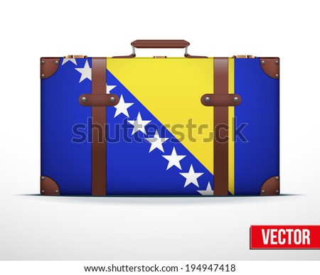 Classic luggage suitcase with flag Bosnia and Herzegovina and  for travel. Vector Illustration. Editable and isolated. - stock vector