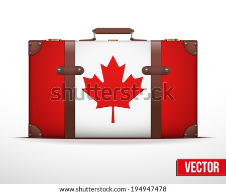 Classic luggage suitcase with flag Canada for travel. Vector Illustration. Editable and isolated. - stock vector