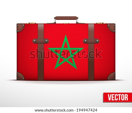 Classic luggage suitcase with flag for travel. Vector Illustration. Editable and isolated. - stock vector