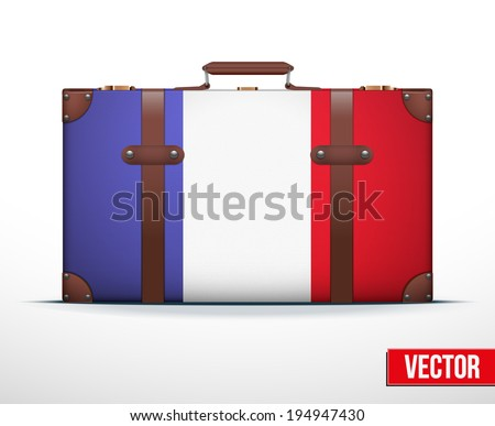 Classic luggage suitcase with flag France for travel. Vector Illustration. Editable and isolated. - stock vector