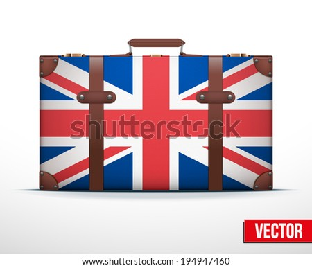 Classic luggage suitcase with flag Great Britain for travel. Vector Illustration. Editable and isolated. - stock vector