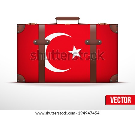 Classic luggage suitcase with flag Turkey for travel. Vector Illustration. Editable and isolated. - stock vector