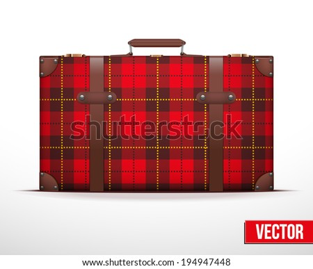 Classic luggage suitcase with red checks texture for travel. Vector Illustration. Editable and isolated. - stock vector