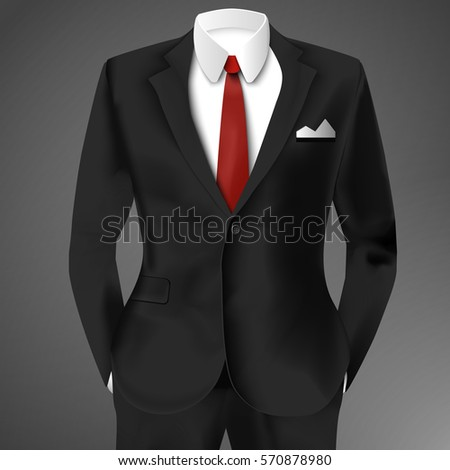 Classic Male Black Suit Red Tie Stock Vector 570878980 - Shutterstock