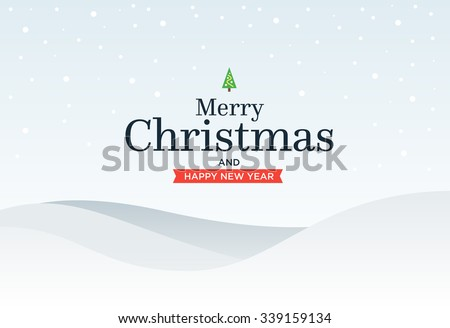 Classic Marry Christmas background with  green three, snow, snowflakes and lettering - stock vector