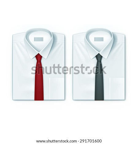Classic men shirts set with red and black ties isolated vector illustration - stock vector