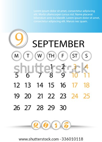 Classic month planning calendar in English for September 2016, Monday to Sunday  - stock vector